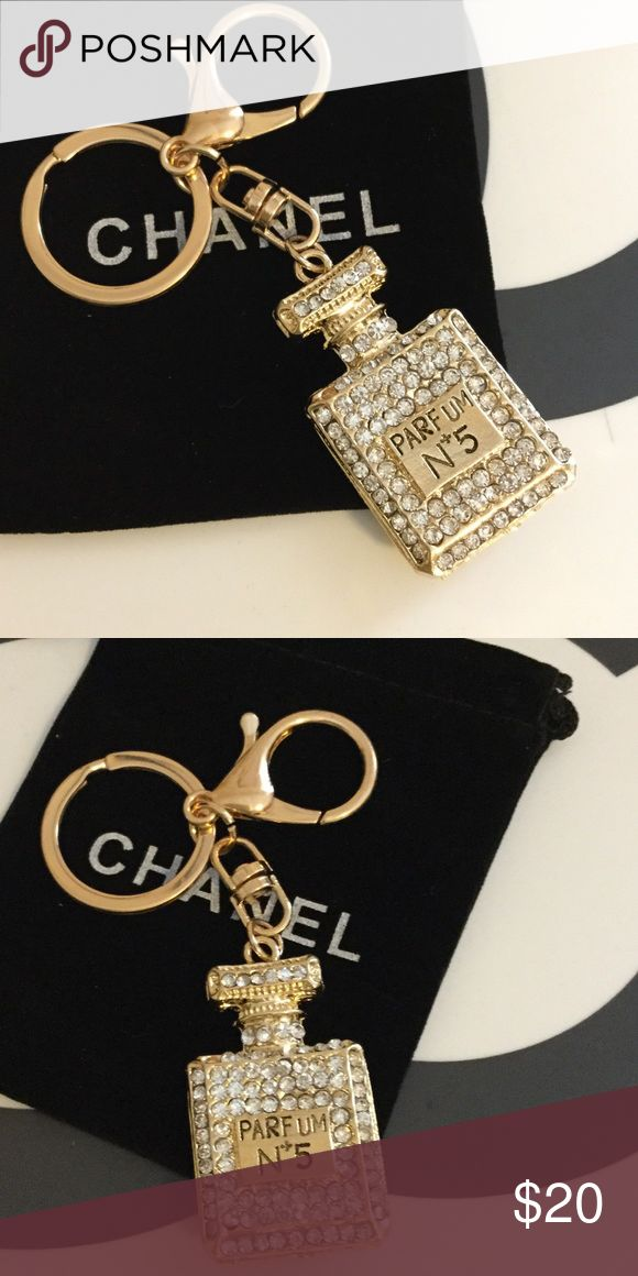 Crystal & Gold No. 5 Purse Charm Keychain Perfume Bottle measures just under 2 inches. Hangs about 4.25 inches. Dust bag included with full purchase price only! If you make an offer, you will not receive the dust bag. CHANEL Jeans Boot Cut