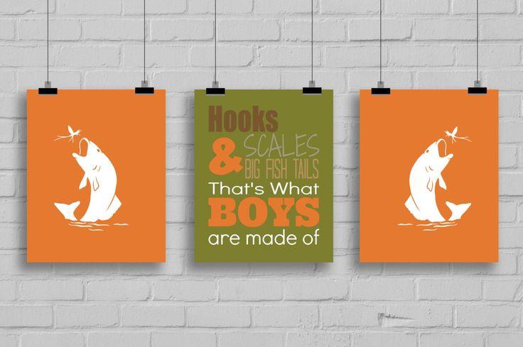 Fishing Decor - Hooks, Scales & Big Fish Tails Print, Boy's Room Decor, Fishing Nursery, Fishing Art, Fishing Typography, Set of 3 Prints by SimplyLoveCreations on Etsy https://www.etsy.com/listing/207520312/fishing-decor-hooks-scales-big-fish