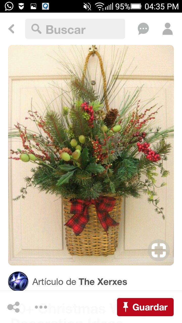 for the door, instead of a wreath Christmas Wreath, Holiday Berries and  Pine Wall Basket Christmas Door Wreath. via Etsy.