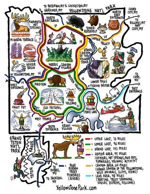 Cool Yellowstone Park map - great for kiddo to follow!  source: Chico Trip 2011: Info on Yellowstone and Montana Kids.