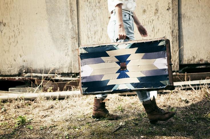 Ganbaroo loves this denim suitcase, Blazing Bell x Kuyichi