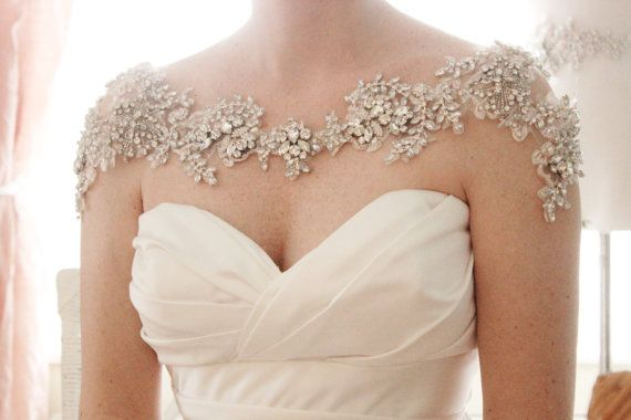 Crystal Bridal Bolero, Rhinestone wedding statement necklace, Shoulder necklace…