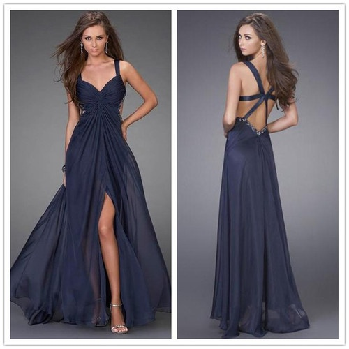 New chiffon blues split long prom dress,long evening dress,formal evening gowns