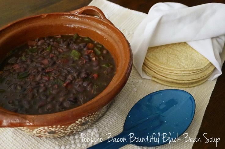 Poblano-Bacon Bountiful Black Bean Soup. | I Love Food! | Pinterest