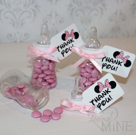 Minnie Mouse Inspired Baby Shower Favors - Plastic Baby Bottles - 12 Per Set - Disney Inspired - Pink - Ears on Etsy, $13.00