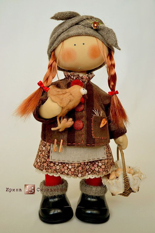 Collectible Dolls handmade. Livemaster - handmade. Buy FROSYA.Red, collector's doll, basket, goat