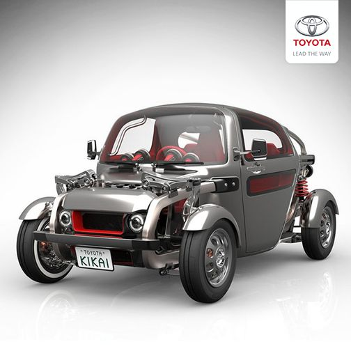 The Toyota Kikai concept car is designed to openly display and find beauty in the mechanics that would normally be hidden behind the structure of the modern day motor vehicle.