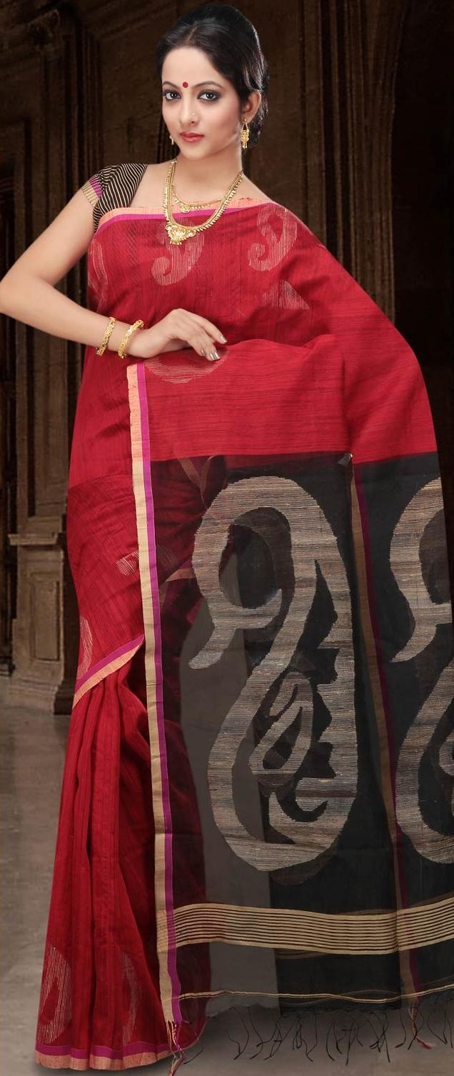 #Red Bengal Handloom Ghicha Matka #Silk #Saree with #Blouse @ US $209.78