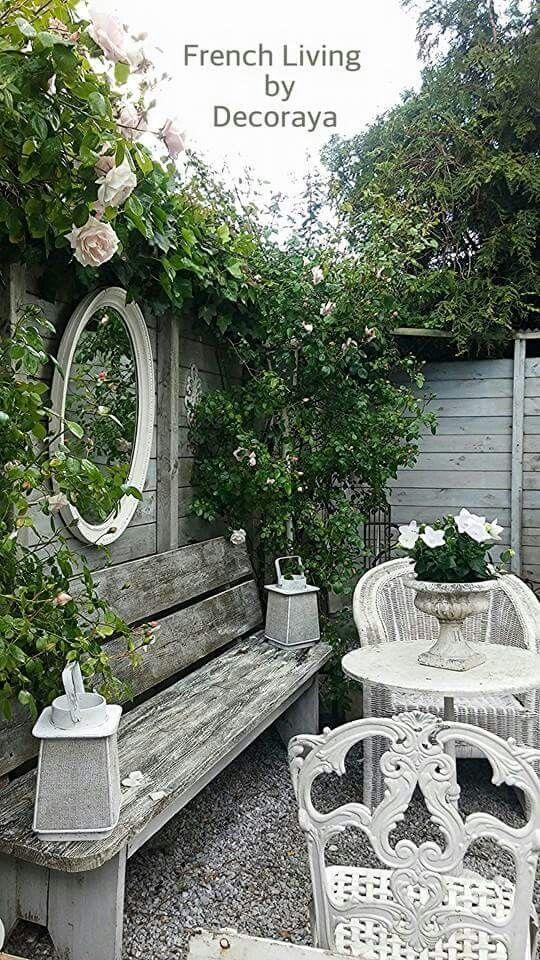 Back yard inspiration - INCREDIBLY BEAUTIFUL!! - THE MIRROR, THE GLORIOUS VINE, THE FURNITURE, THE OLD BENCH.........JUST GO TOGETHER SO WELL, TO LOOK MAGICAL!!