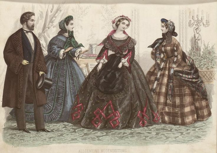 In the Swan's Shadow: Allgemeine Moden-Zeitung, 1861.  Civil War Era Fashion Plate