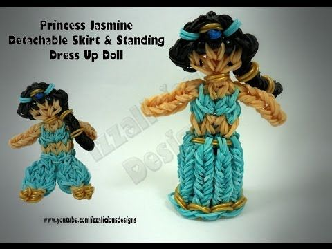 Rainbow Loom Princess JASMINE Figure - Detachable Skirt & Standing Dress Up Doll. Designed and loomed by Kate Schultz of Izzalicious Designs. Click photo for YouTube tutorial. 04/26/14.