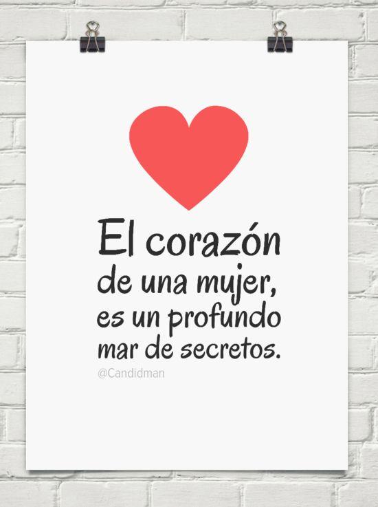 """""""El corazón de una mujer, es un profundo mar de secretos."""" #Citas #Frases @Candidman"""