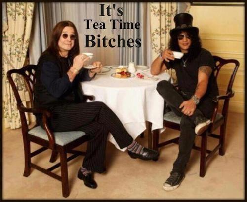 Ozzy Osbourne and Slash having tea.