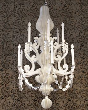 Paper Chandelier  http://www.craftstylish.com/item/26379/extreme-paper-the-long-dark-road-to-a-bright-idea
