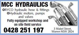 If you need hydraulic hoses replaced or repaired, phone MCC Hydraulics in Warren NSW. Situated at 3 Mabel Street, we have a fully equipped workshop and also offer an on-site field repair service. Stocking RYCO hydraulic hose and fittings. Hydraulic motors, pumps and valves. http:www.mcchydraulics.com.au