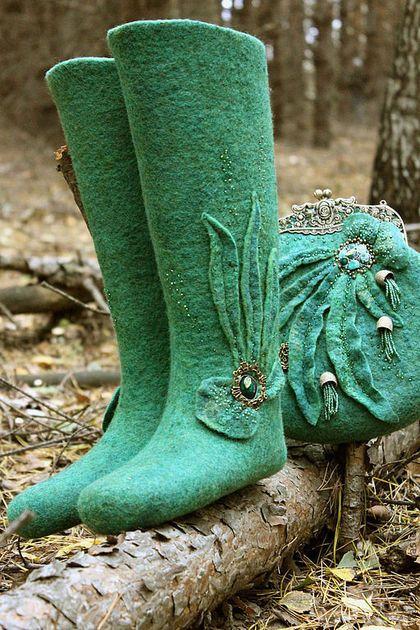"""Обувь ручной работы. Ярмарка Мастеров - ручная работа. Купить Валенки и сумочка-ридикюль """"Octopus's Garden"""". Handmade. Тёмно-зелёный"""