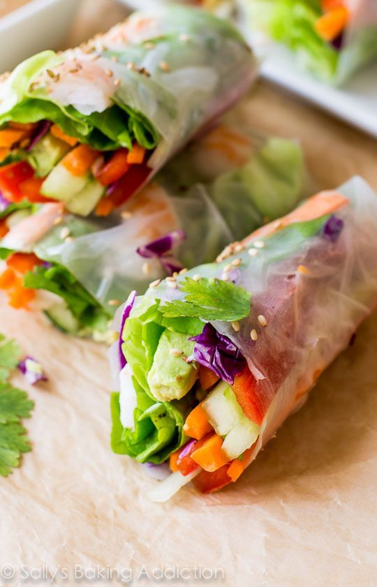 Homemade Fresh Summer Rolls with Easy Peanut Dipping Sauce are healthy, adaptable, and make a wonderful light dinner, lunch, or appetizer. Recipe on sallysbakingaddiction.com