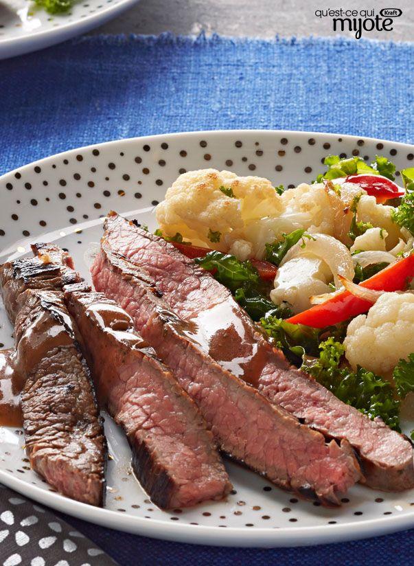 Bifteck de hampe mariné et légumes poêlés #recettes