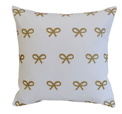 gold bow pillow