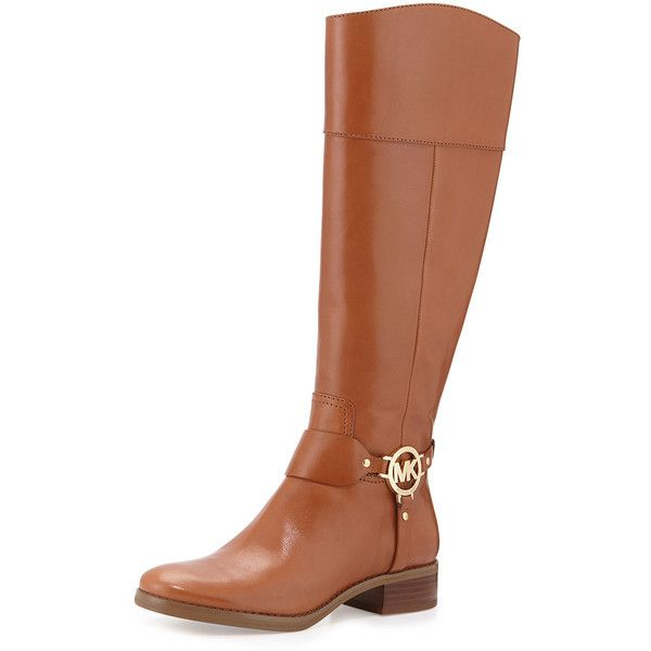 MICHAEL Michael Kors Fulton Harness Leather Riding Boot ($295) ❤ liked on Polyvore featuring shoes, boots, knee-high boots, luggage, knee high heel boots, knee boots, equestrian boots, harness boots and buckle riding boots