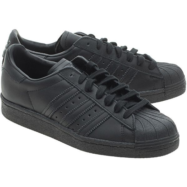ADIDAS ORIGINALS Superstars 80s Black // Flat Leather Sneakers (u20ac109) Liked On Polyvore ...