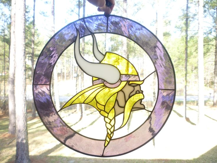 Custom Made Minnesota Vikings Sports Stained Glass Panel