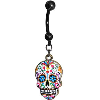 Faith and Flowers Sugar Skull Dangle Belly Ring | Body Candy Body Jewelry #BodyCandy #bellyring #sugarskull