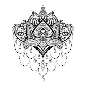 plantillas de tatuajes: Vector ornamental Lotus, étnica tatuaje de henna zentangled, Paisley india con dibujos de las páginas para adultos anti estrés colorear. Dibujado a mano ilustración en el estilo de dibujo.