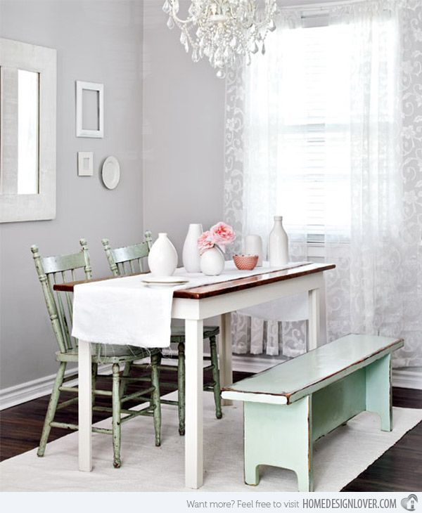 vibrant long narrow dining table. 15 Pretty and Charming Shabby Chic Dining Rooms 77 best Elegant images on Pinterest  rooms