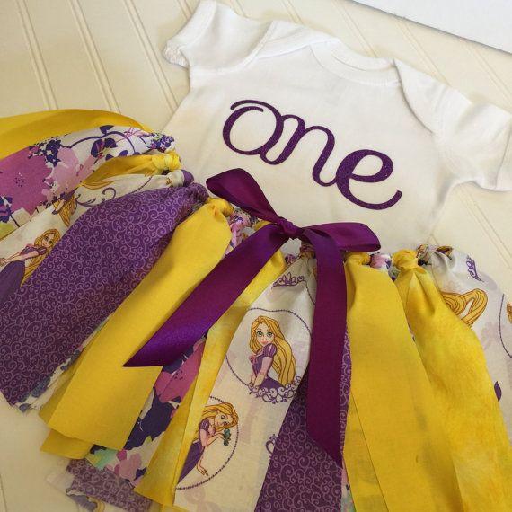 Traje de cumpleaños  Rapunzel de enredados niña traje Tutu de