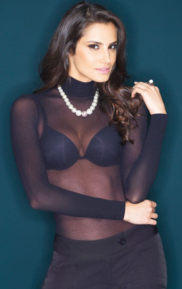 See through Shirt Long Sleeves High Neck Second Skin  Elegant sheer shirt, 40 den, fabric like a pantyhose, stretch, second skin  color: BLACK  soft microfiber quality, poliamide (nylon),  one size fits most regular (XS - small - medium - large)
