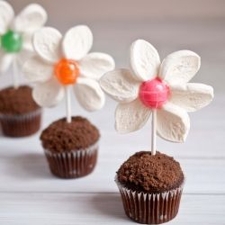 Adorable, edible flower pot mini muffins.  So cute!  I have made flowers out of marshmallows, but not ones that are attached to suckers before.