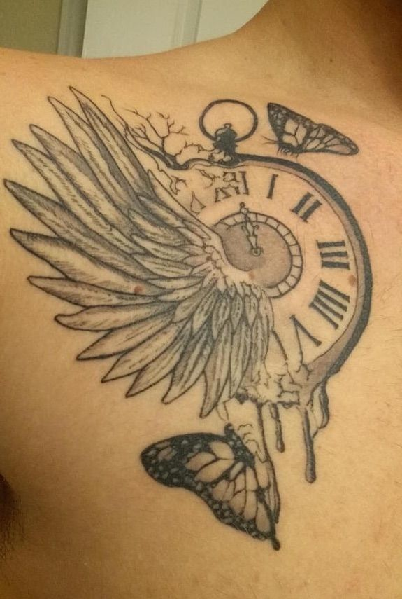 Tattoo Clock Wing Chest: Clock And Wing Tattoo