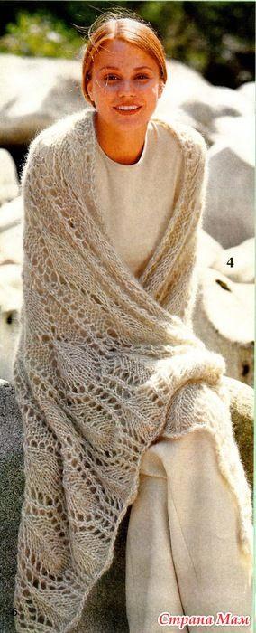 Ажурный палантин спицами - Вязание - Страна Мам