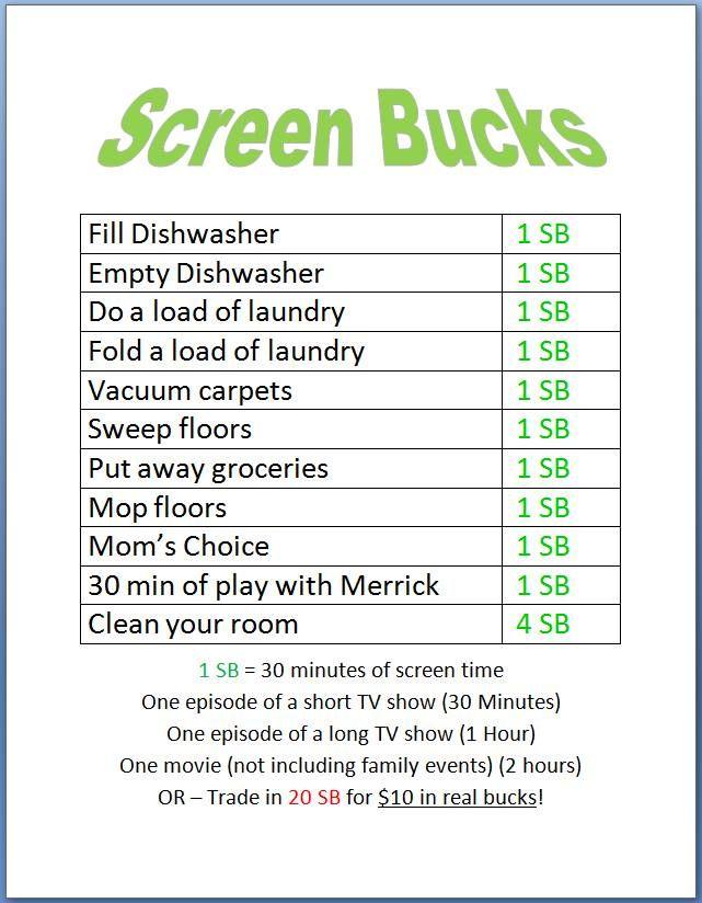 Screen Bucks... kids earn screen time by doing chores!