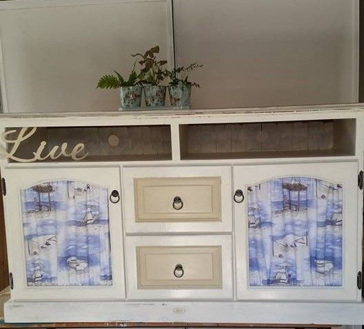 Great upcycled TV cabinet cream and latte with a splash of seaside colour available for sale $180