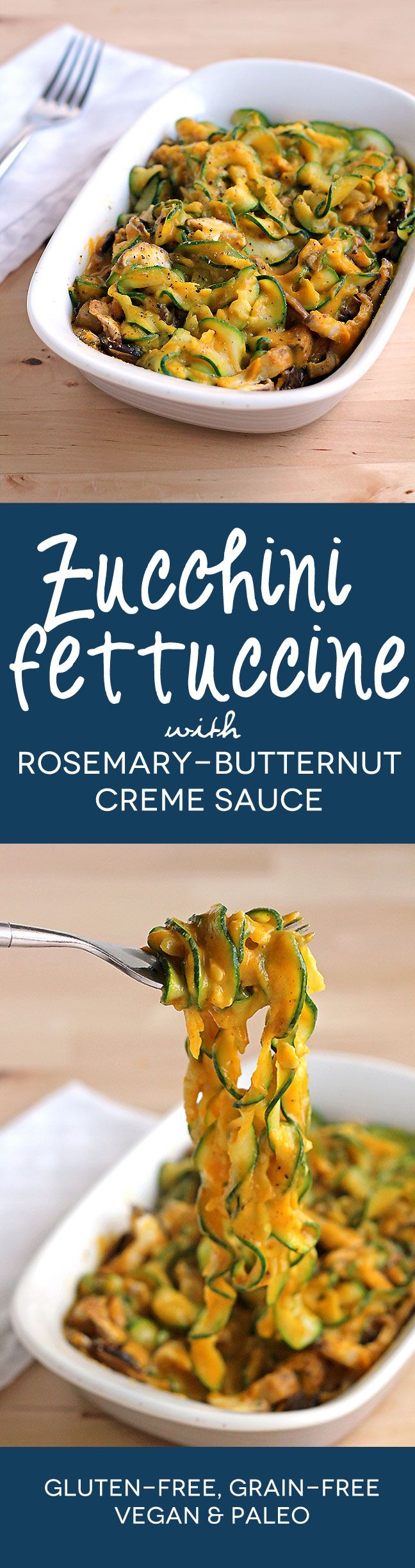 #Zucchini Fettuccine with Rosemary Butternut Creme Sauce #paleo #grainfree