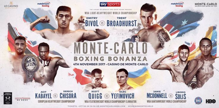 Light-Heavyweight star Dmitry Bivol and the rematch between Jamie McDonnell and Liborio Solis for McDonnell's WBA World Bantamweight title top the Monte-Carlo Boxing Bonanza – a night of World Championship Boxing in the prestigious Salle Médecin of the Casino de Monte-Carlo on Saturday November 4, live on Sky Sports.
