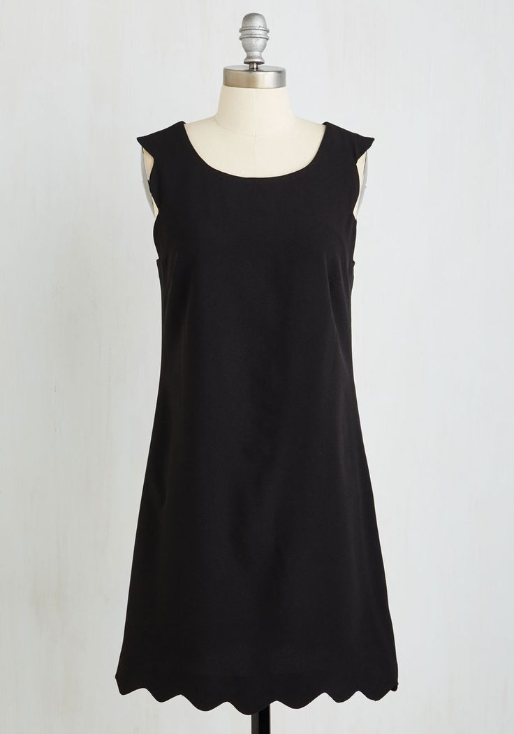 Sensational Staple Dress. As you don this scalloped shift dress, you feel nothing but LBD-elight! #black #modcloth