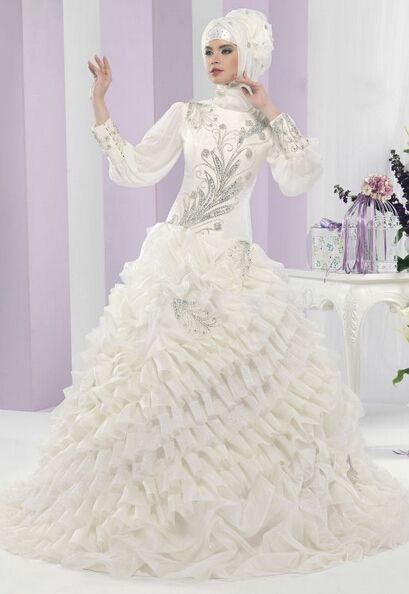 Discount Crystal Beaded High Neck Long Sleeves Ball Gown Muslim Wedding Dress From Trustful Online Seller Easebuydress
