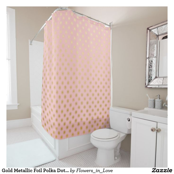 Gold Metallic Foil Polka Dots Pink Rose Modern Shower Curtain