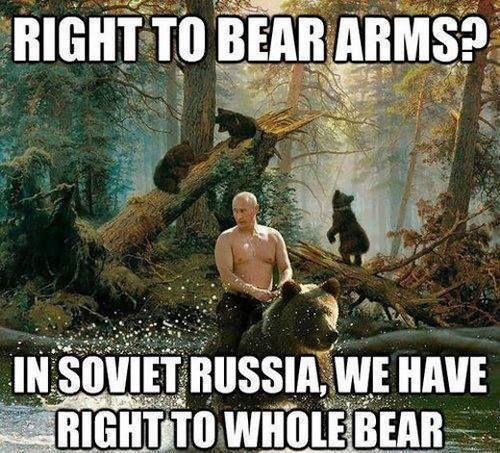 """""""Right to bear arms? In Soviet Russia, we have right to whole bear"""""""