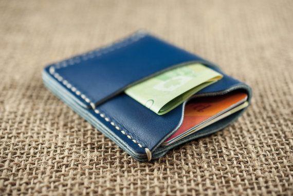 Front Pocket Wallet // Custom Card Holder //  Royal Blue Slim Leather Wallet // Mens Womens Credit Card Holder // Wallet with Initials