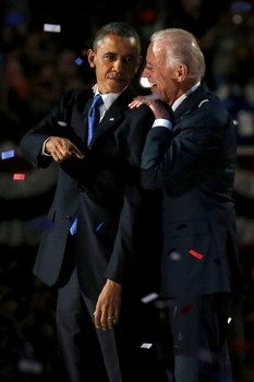 President Obama (with VP Joe Biden) holds a 2012 election event at McCormick Place in Chicago on Election Day. (Nov. 6, 2012)