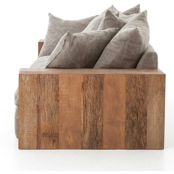 Dorset Industrial Loft Taupe Jute Sofa with Wood Arms ($4,275) ❤ liked on Polyvore featuring home, furniture, sofas, tan couch, pillow back sofa, taupe sofa, pillow back couch and jute sofa
