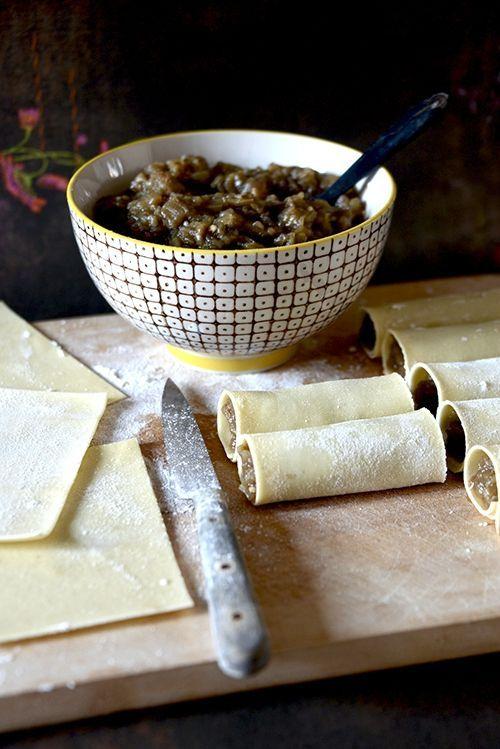 Cannelonis au caviar d'aubergines