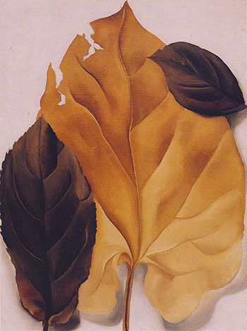 Georgia O'Keeffe, Brown and Tan Leaves, oil O'Keeffe at Lake George   Paint Watercolor Create http://paintwatercolorcreate.blogspot.com/2014/04/okeeffe-at-lake-george.html