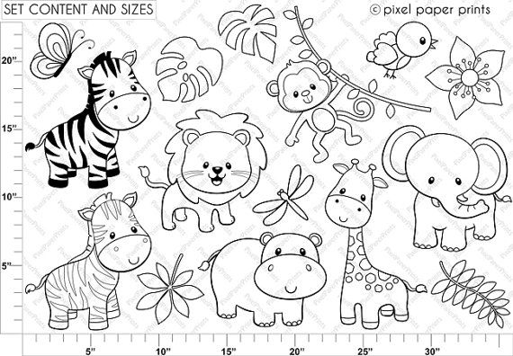 Jungle Friends Digital stamps Clipart by pixelpaperprints