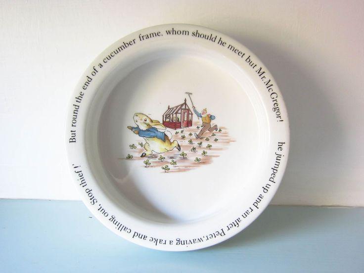 Vintage Peter rabbit children's plate, peter rabbit bowl, Beatrix Potter peter rabbit, Christening gift, baby shower gift, child's Birthday. by thevintagemagpie01 on Etsy