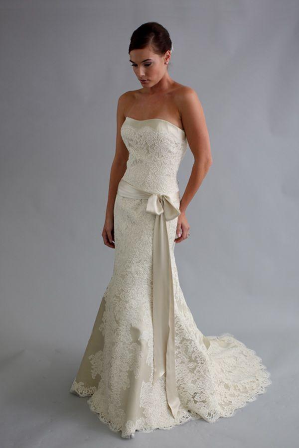 Crochet lace modest wedding dress by modern trousseau
